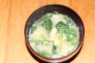 小松菜と卵のみそ汁