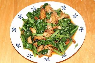 葉大根と鶏皮の炒め物
